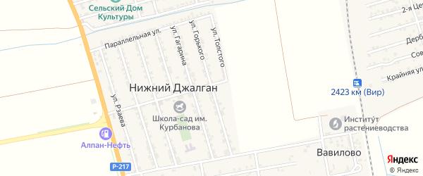 Улица Горького на карте села Нижнего Джалган с номерами домов