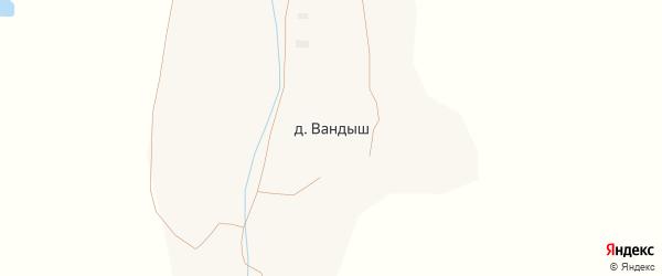 Придорожная улица на карте поселка Вандыша с номерами домов
