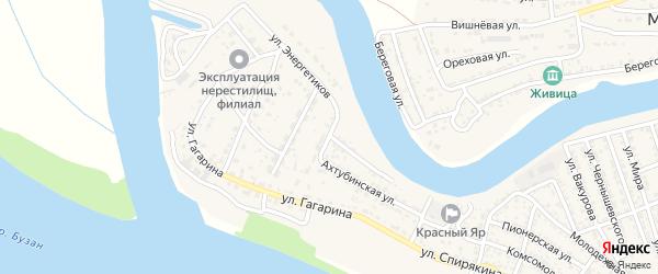 Ахтубинская улица на карте села Красного Яра с номерами домов