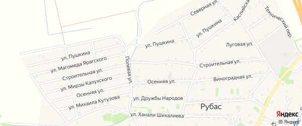 Строительная улица на карте села Уллу-Теркеме с номерами домов