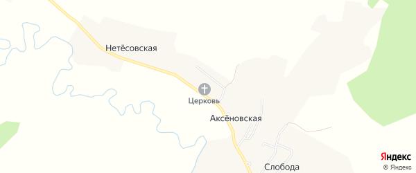 Карта Аксеновской деревни в Архангельской области с улицами и номерами домов