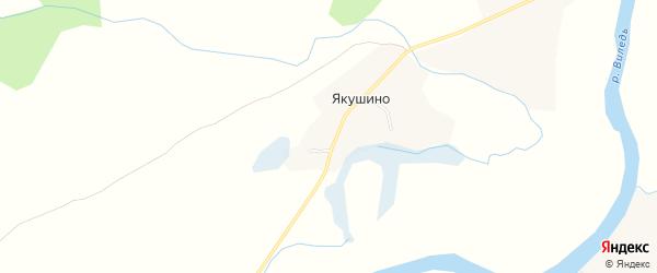 Карта деревни Якушино в Архангельской области с улицами и номерами домов