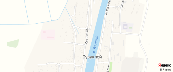 Светлая улица на карте села Тузуклей с номерами домов