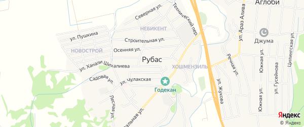 Карта села Рубаса в Дагестане с улицами и номерами домов