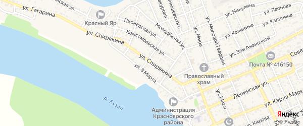 Улица Спирякина на карте села Красного Яра с номерами домов