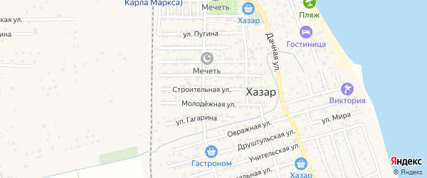 Строительная улица на карте села Хазара с номерами домов