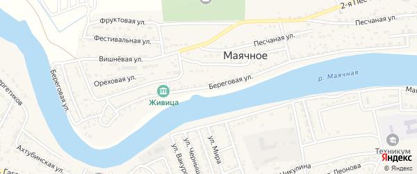 Береговая улица на карте Маячного села с номерами домов