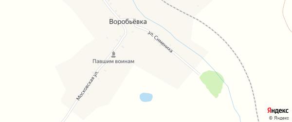 Улица Симениха на карте деревни Воробьевки с номерами домов