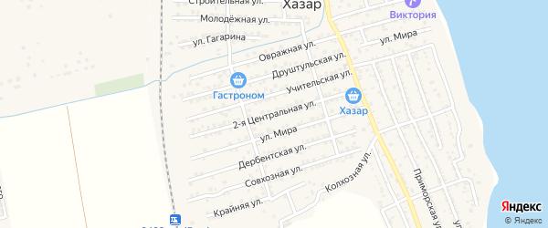 Центральная 2-я улица на карте села Хазара с номерами домов