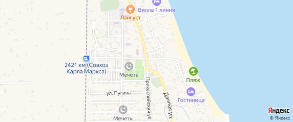 Прикаспийская улица на карте села Хазара с номерами домов