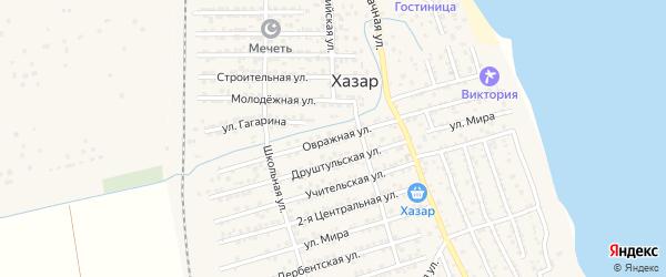 Овражная улица на карте села Хазара с номерами домов