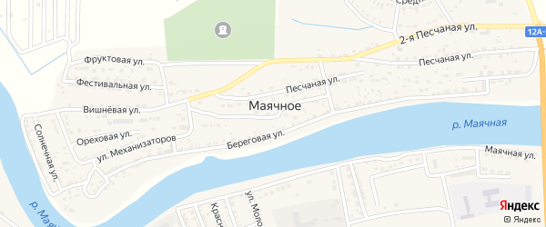 Гвардейская улица на карте Маячного села с номерами домов