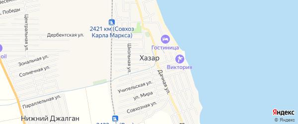 Карта села Хазара в Дагестане с улицами и номерами домов