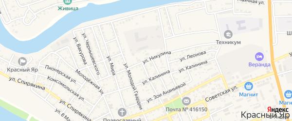 Улица Никулина на карте села Красного Яра с номерами домов