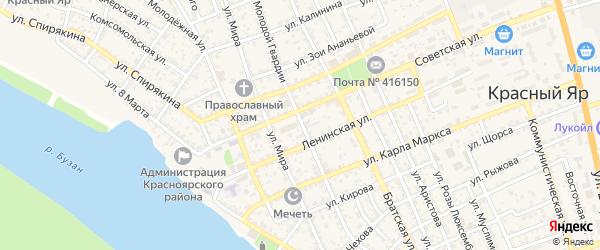 Улица Молодой Гвардии на карте села Красного Яра с номерами домов