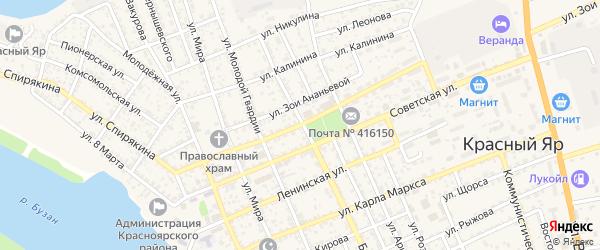 Улица Генерала Тутаринова на карте села Красного Яра с номерами домов