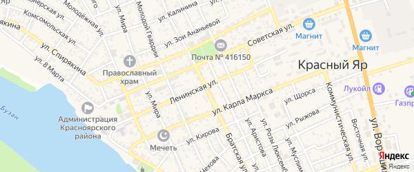 Ленинская улица на карте села Красного Яра с номерами домов