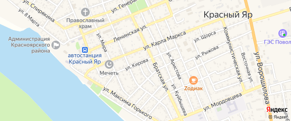 Улица Кирова на карте села Красного Яра с номерами домов