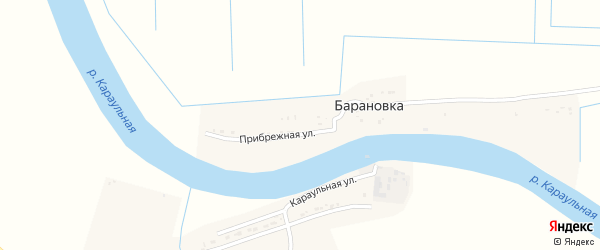Прибрежная улица на карте поселка Барановки с номерами домов
