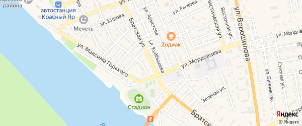 Братская улица на карте села Красного Яра с номерами домов