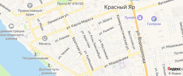 Улица Розы Люксембург на карте села Красного Яра с номерами домов