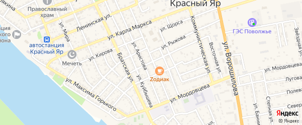 Улица Красного Октября на карте села Красного Яра с номерами домов