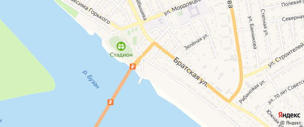 Набережная улица на карте села Красного Яра с номерами домов