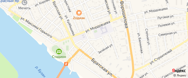 Улица Пархоменко на карте села Красного Яра с номерами домов