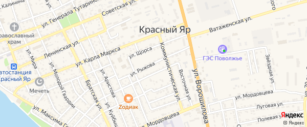 Улица Рыжова на карте села Красного Яра с номерами домов