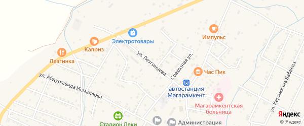 Улица Лезгинцева на карте села Магарамкента с номерами домов