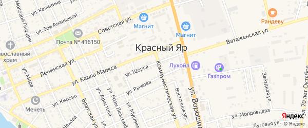 Улица Щорса на карте села Красного Яра с номерами домов