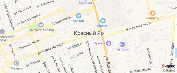 Спортивный переулок на карте села Красного Яра с номерами домов
