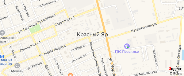 СНТ Аграрник на карте села Красного Яра с номерами домов