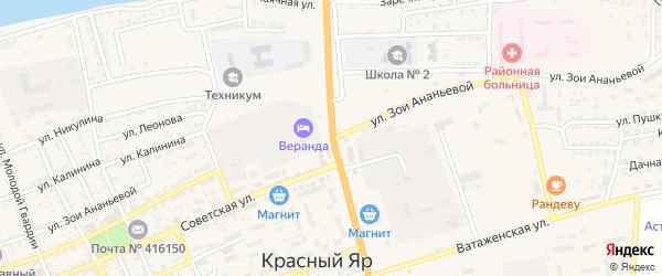 Улица Зои Ананьевой на карте села Красного Яра с номерами домов