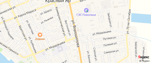 Улица Ворошилова на карте села Красного Яра с номерами домов