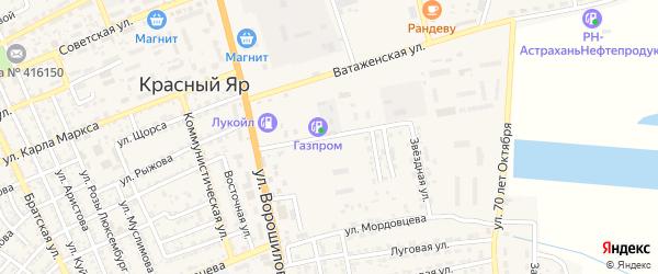 Улица Газовиков на карте села Красного Яра с номерами домов