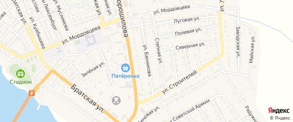 Улица Банникова на карте села Красного Яра с номерами домов