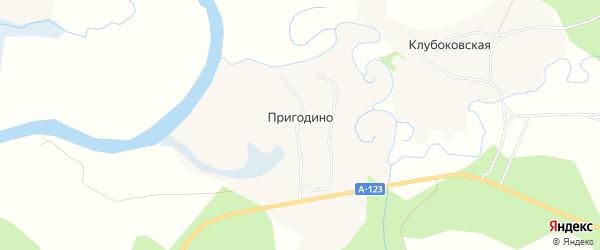 Карта деревни Пригодино в Архангельской области с улицами и номерами домов