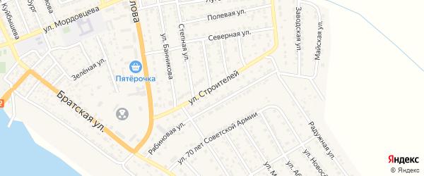 Улица Строителей на карте села Красного Яра с номерами домов