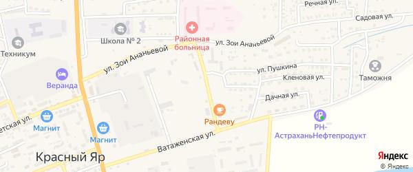 Улица Николая Островского на карте села Красного Яра с номерами домов
