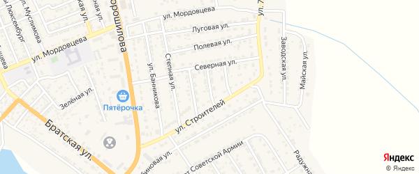 Северный переулок на карте села Красного Яра с номерами домов