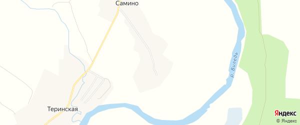 Карта деревни Самино в Архангельской области с улицами и номерами домов