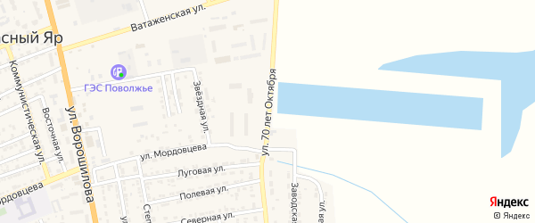 Улица 70 лет Октября на карте села Красного Яра с номерами домов