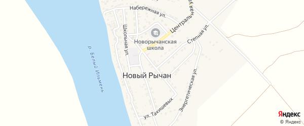 Улица Дины Нурпеисовой на карте села Нового Рычан с номерами домов