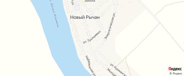 Улица Такишевых на карте села Нового Рычан с номерами домов
