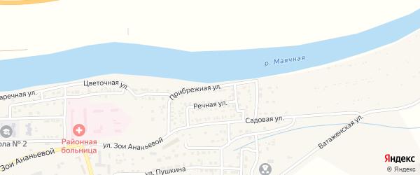 Прибрежная улица на карте села Красного Яра с номерами домов