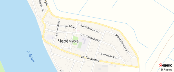 Улица Елизарова на карте села Черемухи с номерами домов