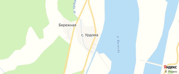 Карта села Урдомы в Архангельской области с улицами и номерами домов