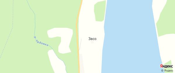 Карта деревни Звоза в Архангельской области с улицами и номерами домов