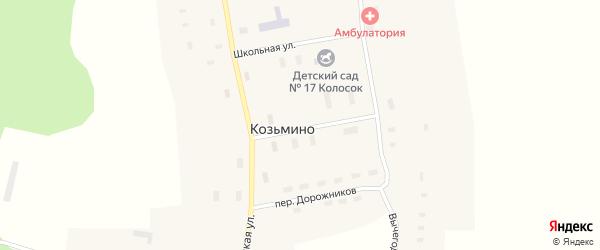 Переулок Дорожников на карте села Козьмино с номерами домов